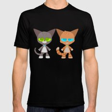 Cat Buddies (Max and Dave Cat) Mens Fitted Tee SMALL Black