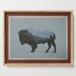 Wyoming Bison Flag Serving Tray