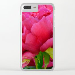 Dark Pink Tree Peony by Teresa Thompson Clear iPhone Case