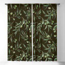 Olive branches watercolor on black Blackout Curtain