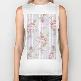 Vintage pink lilac watercolor roses floral stripes pattern Biker Tank