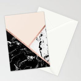 Modern black white marble rose gold color block stripes blush pink Stationery Cards