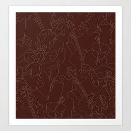 Jazz Musicians (Maroon) Art Print