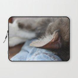 Cozy Cat Sleeping on Denim Jacket Laptop Sleeve