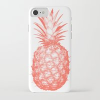pinapple iPhone & iPod Cases featuring Coral Pineapple by CumulusFactory