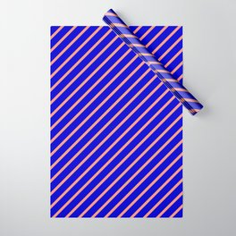 Blue & Dark Salmon Colored Lines Pattern Wrapping Paper