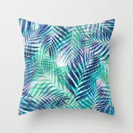 Palm Leaves - Indigo Green Throw Pillow