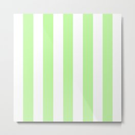 Menthol green - solid color - white vertical lines pattern Metal Print