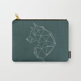 Geometric Wolf (White on Slate) Carry-All Pouch