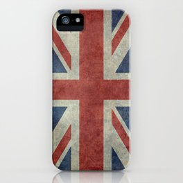 UK Flag, Dark grunge 1:2 scale iPhone Case