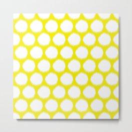 Golden Yellow Asian Moods Ikat Dots Metal Print
