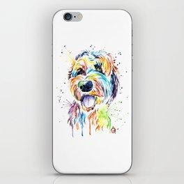 Goldendoodle, Golden Doodle Watercolor Pet Portrait Painting iPhone Skin
