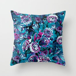 RPE FLORAL VIII BLUE Throw Pillow