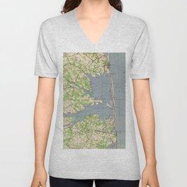 Vintage Rehoboth & Bethany Beach DE Map (1944) Unisex V-Neck