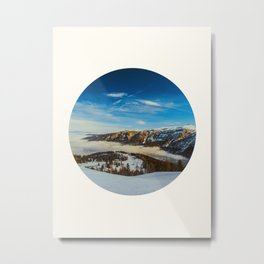 Mid Century Modern Round Circle Photo Rolling Snow Hills Distant Mountains Metal Print