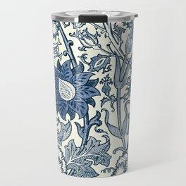 William Morris Navy Blue Botanical Pattern 5 Travel Mug