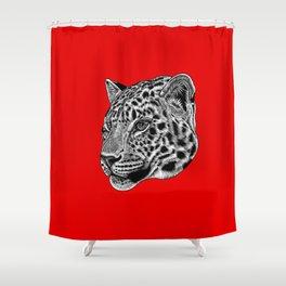 Amur leopard cub - red - big cat Shower Curtain