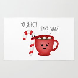 You're Hot! Thanks Sugar! Candy Cane & Hot Chocolate Couple Rug