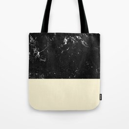 Light Blush Yellow Meets Black Marble #1 #decor #art #society6 Tote Bag