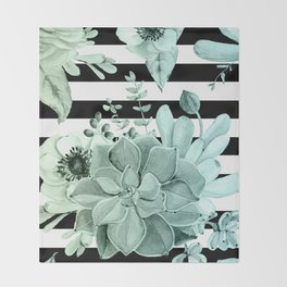 Succulents in the Garden Teal Blue Green Gradient with Black Stripes Throw Blanket