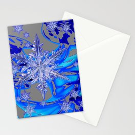 MODERN ROYAL BLUE WINTER SNOWFLAKES GREY ART Stationery Cards