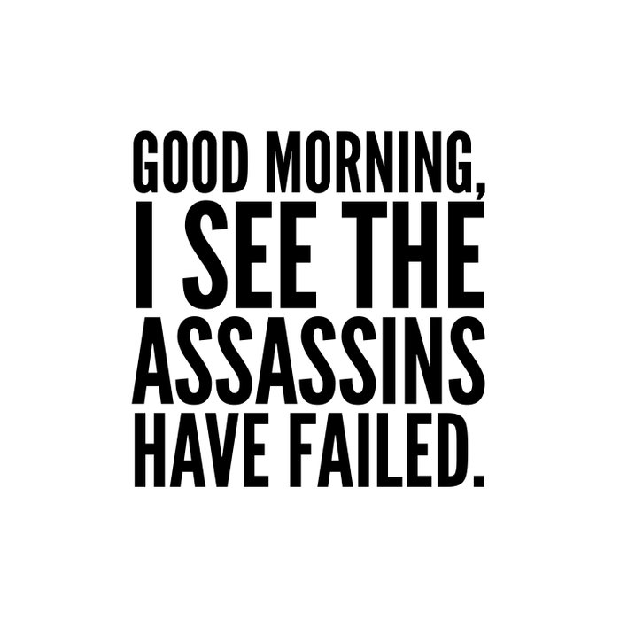Good morning, I see the assassins have failed. Duvet Cover