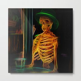 Skeleton Fractal Skull Metal Print