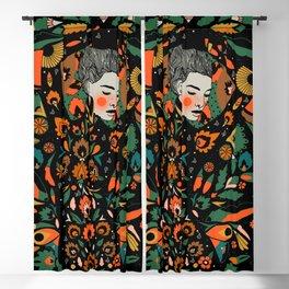 Black Velvet and Clementine Blackout Curtain