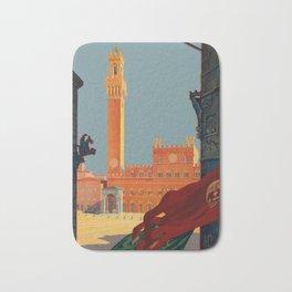 Tuscany - Siena Italy - Vintage Travel Bath Mat