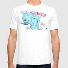 WISCONSIN Mens Fitted Tee White MEDIUM