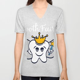 Tooth Fairy A Cute White Teeth Great Gift For Dentists Doctors, Dental Technician T-shirt Design Unisex V-Neck