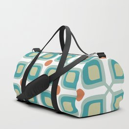 Abstract Flower Pattern Mid Century Modern Retro Turquoise Orange Duffle Bag