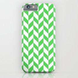 Herringbone (Green & White Pattern) iPhone Case