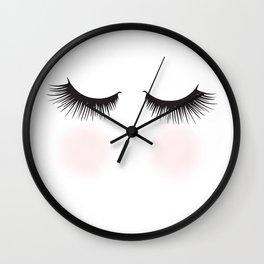 Shy, Woman With Closed Eyes Fashion Illustration  Wall Clock