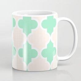 quatrefoil - green and cream Coffee Mug