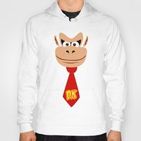 donkey kong Hoodies featuring Donkey Kong Face Vector by SOULTHROW