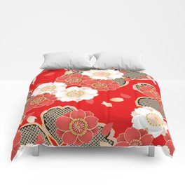 Japanese Vintage Red Black White Floral Kimono Pattern Comforters
