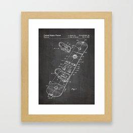Snowboard Patent - Snowboaring Art - Black Chalkboard Framed Art Print