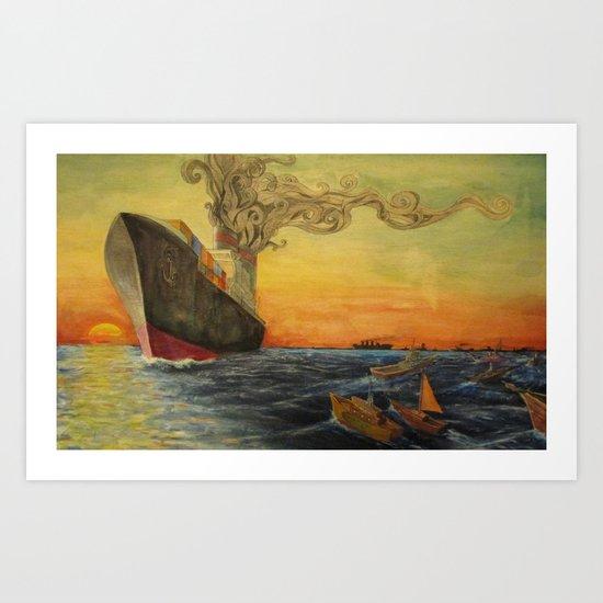 Big Boat Sunset Art Print