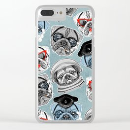 Pug Pattern Clear iPhone Case