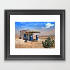 Gas Station Ghost Town in Desert Framed Art Print