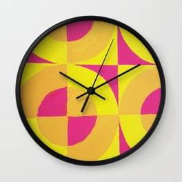 Geometric abstract hand painted neon pink yellow pattern Wall Clock