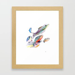 Swimming Salmons Framed Art Print