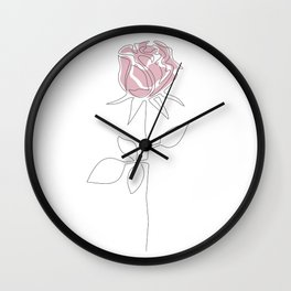 One Line Rose Wall Clock