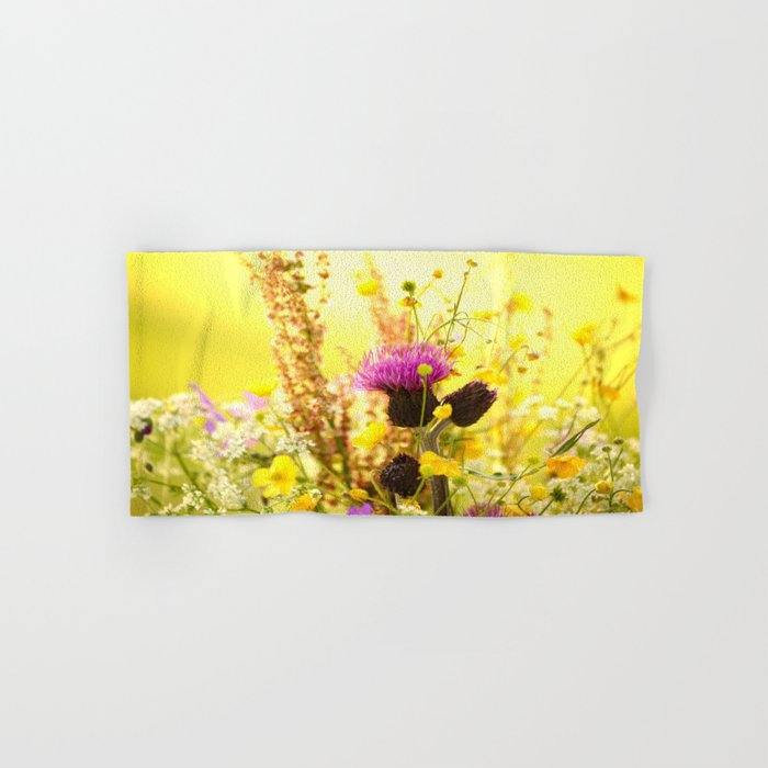 Colorful Wildflowers On A Yellow Background #decor #society6 Hand & Bath Towel