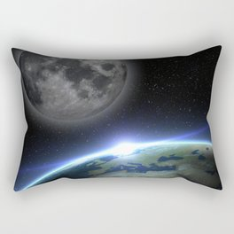 Earth and moon Rectangular Pillow