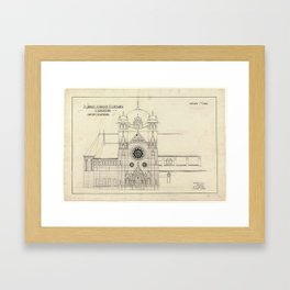 Plan of extension to St Johns Church, Launceston (Alexander North, Architect) Framed Art Print