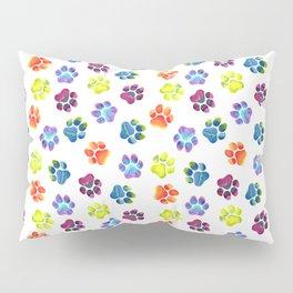 Rainbow Paw Print Pattern Pillow Sham