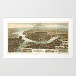Vintage Pictorial Map of Norfolk Virginia (1892) Art Print