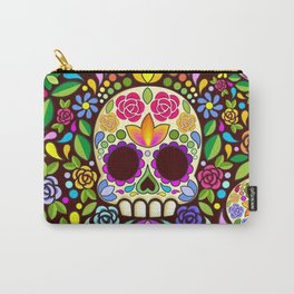 Sugar Skull Floral Naif Art Mexican Calaveras Carry-All Pouch